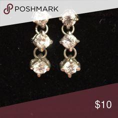Earrings Beautiful triple stone CZ earrings in silver tone setting. Very sparkly Jewelry Earrings