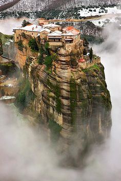 Meteora, Greece. Let's build a house on a treacherous cliff, shall we?