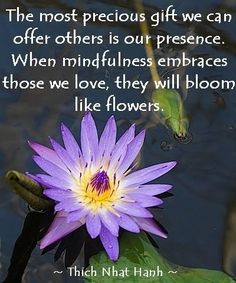 The most precious gift we can offer others is our presence. —Thich Nhat Hanh
