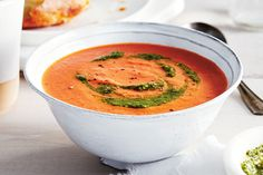 Using a handful of rice instead of whipping cteam. Hot pepper flakes add a touch of heat to this creamy, velvety tomato soup. Slow Cooker Recipes, Soup Recipes, Dinner Recipes, Cooking Recipes, Healthy Recipes, Healthy Meals, Healthy Canned Soups, Vegan Soups, Canadian Living Recipes