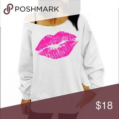 Women Pullover Lips Print One Shoulder  top New Women Casual Pullover Lips Print One Shoulder Jumper  Sweatshirt Tops. Very soft sweatshirt fabric. The sweatshirt is light and very girly and cute. 💋💋💋 it is XL fits a Large I ordered online and it came from outside of the US. It's very cute and flirty I have other colors coming in as well. 💋💋💋size chart available in the pics. Tops Sweatshirts & Hoodies