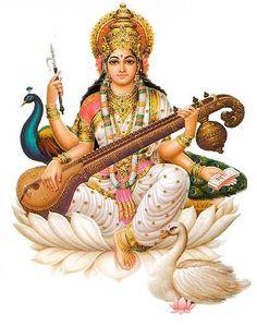 sarasvati: hindu goddess of eloquence and intelligence, sarasvati extends a refreshing drink from her well of knowledge to complete the month with aptitude. In hindu tradition, Sarasvati invented all sciences, arts, and writing. Saraswati Vandana, Saraswati Mata, Saraswati Goddess, Krishna, Hanuman, Saraswathi Pooja, Kundalini Mantra, Kundalini Yoga, Spirituality