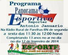Portal Esporte São José do Sabugi: Programa Panorama Esportivo da Rádio Rural de Pare...