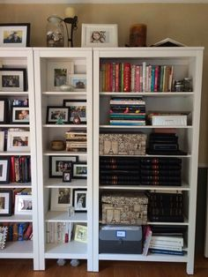 i wanted to use my bookshelves in my office as a place to display more photos hemnes bookshelves ikea frames ikea and micheals - Large Bookshelves