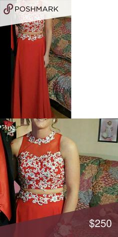 Prom dress Long red two piece. Size one to two open back brand new only wore for a couple hours new snaps and everything, no issues. Red Two Piece, Dress Long, Fashion Tips, Fashion Design, Fashion Trends, Lady In Red, Prom Dresses, Brand New, Couple