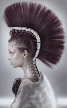 mohican, hair, spine