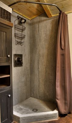 Masculine Corrugated Metal and Wood Shower Surround