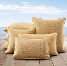 Perennials® Corsica Outdoor Pillows Soleil | Restoration Hardware  (Sunroom)