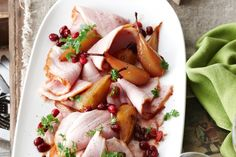 Maple, honey and spice-basted ham with glazed pears