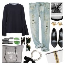 """Ripped Jeans"" by kelly-m-o ❤ liked on Polyvore featuring moda, Shoe Cult, Chanel, Polaroid, Alexander McQueen, Ray-Ban, Bobbi Brown Cosmetics, Aesop e Yves Saint Laurent"