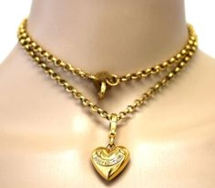 Vintage JUICY COUTURE Signed Gold Plated Heart Banner Charm Pendant Necklace