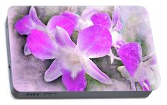 Portable Battery Charger featuring the photograph Purple Orchids by Judi Saunders.
