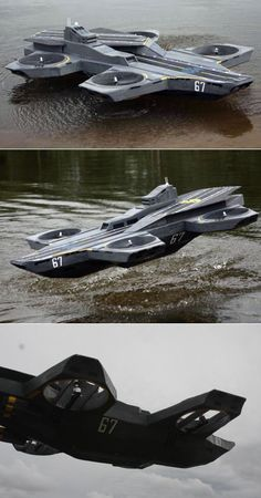 Reverse-engineered, working scale model of the Avengers' S.H.I.E.L.D. Helicarrier by Native18