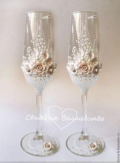 """СВАДЕБНЫй набор""""""""Розы Брюле"""""""" - бежевый, свадьба, свадебные аксессуары, свадебные бокалы, подушечка для колец"""