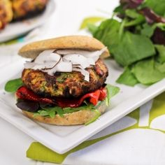 Tropical Chicken Burger - Healthy and  loaded with bell peppers, green onions, mango and coconut...