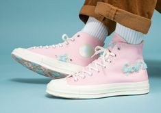 "Tyler, The Creator's pastel Converse Chuck Taylor 70 ""Chenille"" is getting a re-release after quickly selling out on Singles' Day Galaxy Converse, Pastel Converse, Vans Converse, High Top Converse, Converse Trainers, Custom Converse, Converse Style, Grunge Style, Soft Grunge"