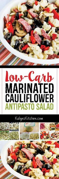 Low-Carb Marinated Cauliflower Antipasto Salad is a delicious summer salad that'. CLICK Image for full details Low-Carb Marinated Cauliflower Antipasto Salad is a delicious summer salad that's loaded with flavor, and th. Ketogenic Recipes, Low Carb Recipes, Diet Recipes, Healthy Recipes, Pescatarian Recipes, Recipies, Keto Side Dishes, Cauliflower Salad, Roasted Cauliflower
