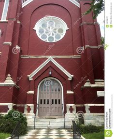 Deep Maroon Church With White Trim Stock Image - Image of first, large: 102708177