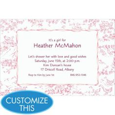 5x7 pink toile peoplefabric baby shower invitation pink babies and shower invitations - Baby Shower Invitations Party City