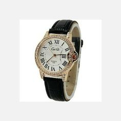 Cai Qi Ladies Watch with Rhinestone and CrocEmbossed Leather Band | WatchCorridor