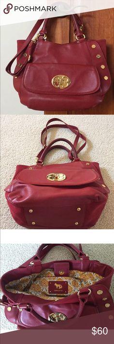 Selling this Red Leather bag on Poshmark! My username is: nickschick_38. #shopmycloset #poshmark #fashion #shopping #style #forsale #Emma Fox #Handbags
