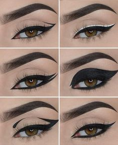 Matte Liquid Eyeliner, Cat Eye Eyeliner, Simple Eyeliner, No Eyeliner Makeup, Different Eyeliner Looks, Color Eyeliner, Hooded Eyes Eyeliner, Best Winged Eyeliner, Artistic Make Up