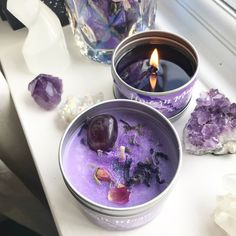 Unicorn Magic crystal Candles, infused with amethyst crystals, blue mallow petals, essential oils and a heap of magic! stock up as these are our best sellers! Soy Wax Candles, Diy Candles, Velas Diy, Purple Candles, Herbal Essences, Candle Magic, Spiritus, Homemade Candles, Book Of Shadows