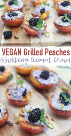 These Vegan Grilled Peaches with Blackberry Coconut Cream are the simplest desserts of summer! #vegandessert #grilledpeaches #coconutcream