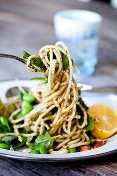 Recipe: Lemony Pesto Pasta with Edamame & Almonds — Vegetarian Weeknight Dinner Recipes from The Kitchn