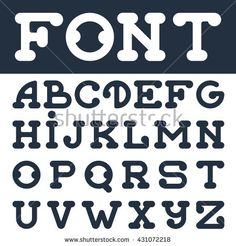 English font set. Typeface with rounded corners