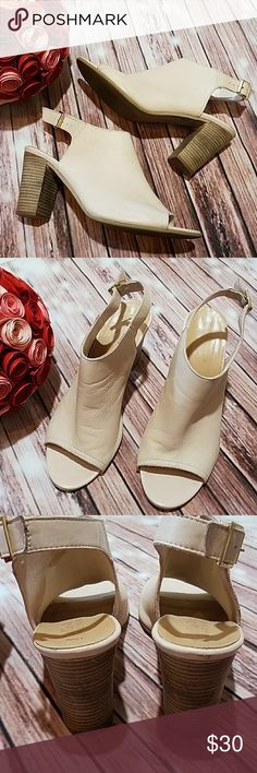 "Bella Vita Italian Leather peep toe heeled sandals Super soft cream colored peep toe heels.Heels approximately 4"".  Preloved. Small flaw pictured. Size 12W. Offers welcomed. Bella Vita Shoes Heels"