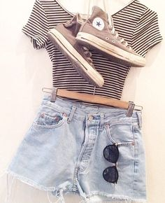Striped gray clothing crop top and high waisted shorts