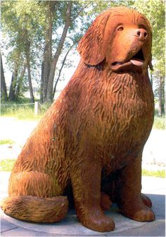 """Tom Neary, artist. """"Seaman was Captain Lewis's Newfoundland dog that accompanied the expedition. Captain Lewis purchased the reliable and loveable dog while in Pittsburgh outfitting for the famous Lewis and Clark Expedition.  This six foot high, 1,400 pound corten steel statue is located at Seaman Overlook, Fort Mandan, on the banks of the Missouri River (2 miles west of the Lewis and Clark Interpretive Center) near Washburn, North Dakota."""