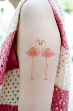Cute Flamingos Tattoo. It's funny because flamingos have a special meaning in my family :p