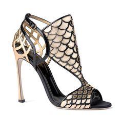 Sandalo oro e nero in vernice, pelle e tulle, <b>Sergio Rossi</b>