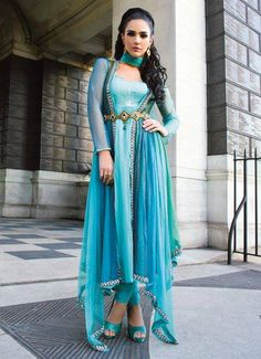 Sai fashions amazing blue and green outfit desi fashion Arab Fashion, Islamic Fashion, Indian Fashion, Moroccan Fashion, Indian Dresses, Indian Outfits, Indian Clothes, Pakistan Fashion, Indian Couture