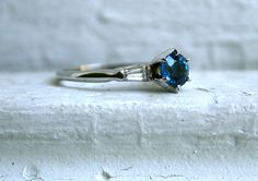 Lovely Vintage 14K White Gold Sapphire and Diamond Engagement Ring.. $845.00, via Etsy.