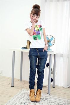 Graceful Zippered Slanting Plus Size Jeans : Tidebuy.com