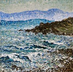 """San Juan Island"" SOLD  Acrylic on Canvas  4"" x 4""  https://www.facebook.com/HeatherPasqualinoFineArt"