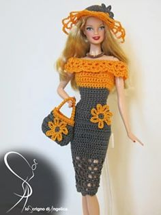 "Radiant Crochet a Doll Ideas : Ravelry: Barbie ""Giselle"" dress pattern by Simona Pusinanti Irresistible Crochet a Doll Ideas. Radiant Crochet a Doll Ideas. Crochet Barbie Patterns, Barbie Clothes Patterns, Crochet Barbie Clothes, Doll Clothes Barbie, Crochet Doll Pattern, Barbie Dress, Crochet Dolls, Clothing Patterns, Crochet Dresses"