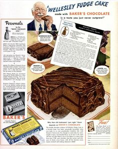 Dying for Chocolate: Wellesley Fudge Cake: Retro Ad & 2 Recipes Retro Recipes, Old Recipes, Vintage Recipes, Cake Recipes, Dessert Recipes, Cooking Recipes, Frosting Recipes, Picnic Recipes, Baking Desserts