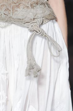 rope belt with lace, unexpected mix |  alberta ferretti at milan fashion week, spring 2011