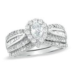 1-1/8 CT. T.W. Pear-Shaped Diamond Frame Bridal Set in 14K White Gold