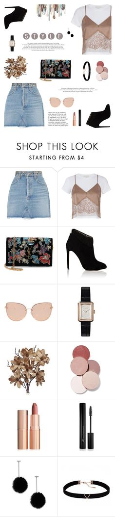 """Denim in The Streets"" by taniawaspodo ❤ liked on Polyvore featuring AGOLDE, Michelle Mason, Yves Saint Laurent, Chloe Gosselin, Anja, Topshop, Chanel, LunatiCK Cosmetic Labs, Charlotte Tilbury and Forever 21"