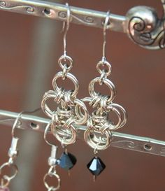 Chain Maille Cross with Black Bead Drop