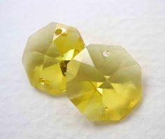 Vintage Swarovski Crystal Topaz Octagon Connector harvest gold