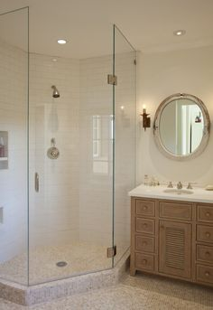 Corner Shaped Walk-In Shower Design, Ideal for Small Spaces