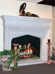 Would need one of their other available stone color options--the mantel in the photo was made in too white a medium for your application *note inside corner detail (link to detail photo on website)