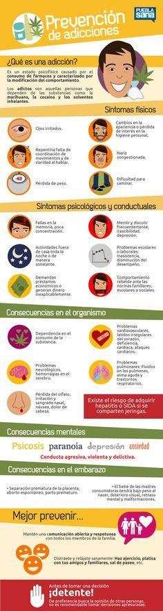 """Hola: Compartimos una infografía sobre la """"Adicciones - Señales para Identificarlas"""". Un gran saludo. Elaboración: Puebla Sana Enlaces de interés: Hijos – 10 Tips para Educarlos Mejor..."""