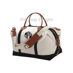 AT THE TOP OF NY CHRISTMAS LIST :) LARGE Monogram Canvas Duffle Bag  Weekender by StitchingDesigns, $80.00